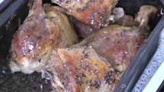 Roast duck in the pan - stock footage