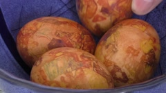 Easter eggs colored with onion skin Stock Footage