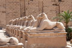 Stock Photo of Ram-headed Sphinxes Statue In Karnak Temple, Luxor, Egypt