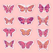 Stock Illustration of Set of Butterflies Decorative Isolated Silhouettes in Vector