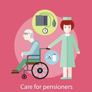 Care for Pensioners - stock illustration