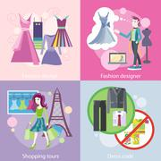 Stock Illustration of Fashion Designer Design, Shopping Tour, Dress Code