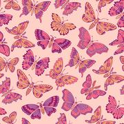Seamless pattern with decorative butterflies - stock illustration