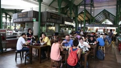 Lau Pa Sat Festival Market in Singapore Stock Footage