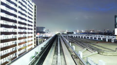 POV Time Lapse of Urban Train Yurikamome at Night in Tokyo, Japan Stock Footage
