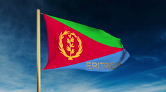 Eritrea flag slider style with title. Waving in the wind with cloud background Stock Footage
