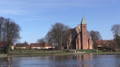 Maribo Cathedral at Lake Maribo Stock Footage