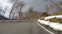 Driving snow landscape road Harz mountains sunny day Stock Footage