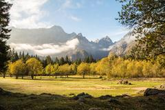 Autumn morning in the alps - stock photo