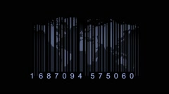 Global economy concept. World map as a barcode. world map as bar-code Stock Footage