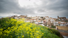 Time Lapse of Caceres, cloudy sky, yellow flowers in the foreground Stock Footage