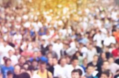 Blur Defocus People Running Marathon Stock Photos