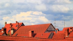 Clouds moving over the town Stock Footage