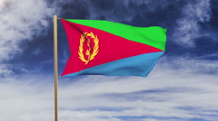 Eritrea flag waving in the wind. Green screen, alpha matte. Loopable animation Stock Footage