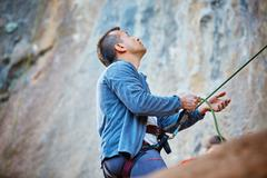 Belayer with the rope Stock Photos