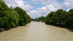 Isar River dissecting in Munich City Stock Footage