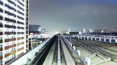 4K POV Time Lapse of Urban Train Yurikamome at Night in Tokyo, Japan -Close Up- Stock Footage