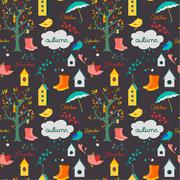 Autumn fall pattern - stock illustration