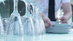 Waiters prepare a buffet for a party Stock Footage