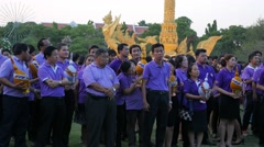 People ready to give present for princess Sirindhorn,Ubon Ratchathani,Thailand Stock Footage
