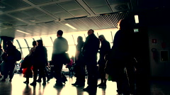 People at airport boarding gate Stock Footage