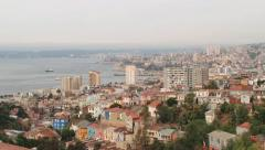 View to the city of Valparaiso from the hill in Valparaiso, Chile. - stock footage
