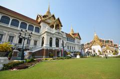 Travelers visit Chakri maha prassat hall in gland palace of Bangkok ,Thailand Stock Photos