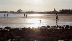 Algarve - Tavira - People at East Quatro Aguas Beach C Stock Footage