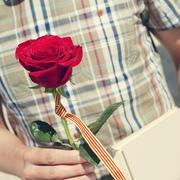 A young man with a red rose and the catalan flag, and a book for Sant Jordi, Stock Photos