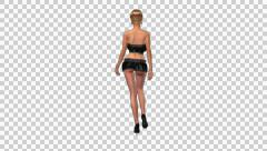 Fashion Model - Blond Mond - Walk Loop - Back - Alpha - 30fps Stock Footage