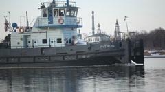 Ship sails on the Oka. Stock Footage