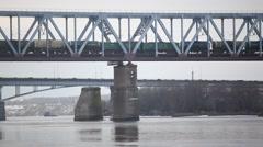 Train traffic on the bridge across the Oka River Stock Footage