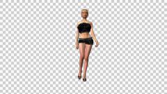 Fashion Model - Blond Mond - Walk Loop - Front - Alpha - 25fps Stock Footage