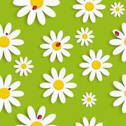 Flora Daisy Seamless Pattern Design Vector Illustartion - stock illustration