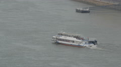 Sightseeing cruise boat on Danube River in Budapest Stock Footage