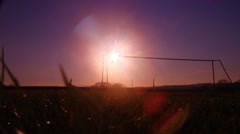 Sunset football pitch Stock Footage