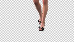 Fashion Model - Blond Mond - Walk Loop - Legs - Alpha - 30fps Stock Footage