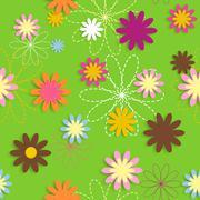 Flora Flower Seamless Pattern Design Vector Illustartion - stock illustration
