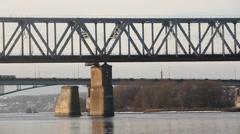 Bridge over the river Oka Stock Footage