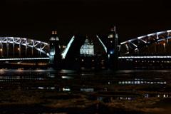 4K. Night of Opening Bolsheokhtinsky bridge in St. Petersburg, Russia. Ultra HD. - stock footage