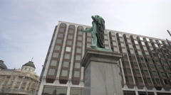 Statue of Baron Jozsef Eotvos at the Hotel Intercontinental in Budapest - stock footage