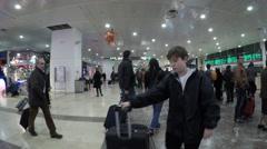 Interior of Barcelona Sants Station Stock Footage