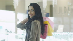 Portrait of Young Girl with Bags in Shopping Mall. Slow Motion. - stock footage