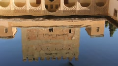 Reflection of a pool in Ancient Alhambra Spain Stock Footage