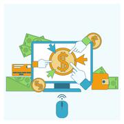 Pay per click internet advertising model - stock illustration
