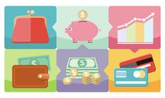Dollar, purse, coin box pig icons Stock Illustration