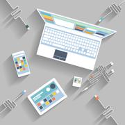 Laptop, digital tablet, smartphone with usb cable - stock illustration
