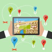Hands hold smartphone with imaginary city - stock illustration