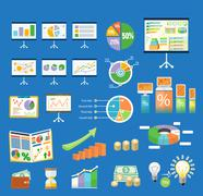 Stock Illustration of Set of flip chart with drawing business charts