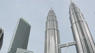 Stock Video Footage of Tilt down from the Petronas Twin Towers in Kuala Lumpur